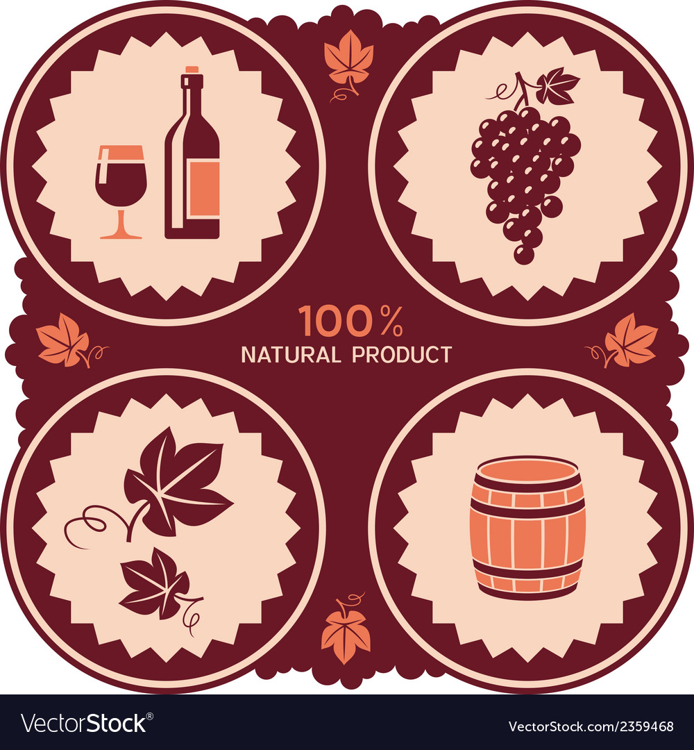 Wine label with grape and barrel icons vector | Price: 1 Credit (USD $1)