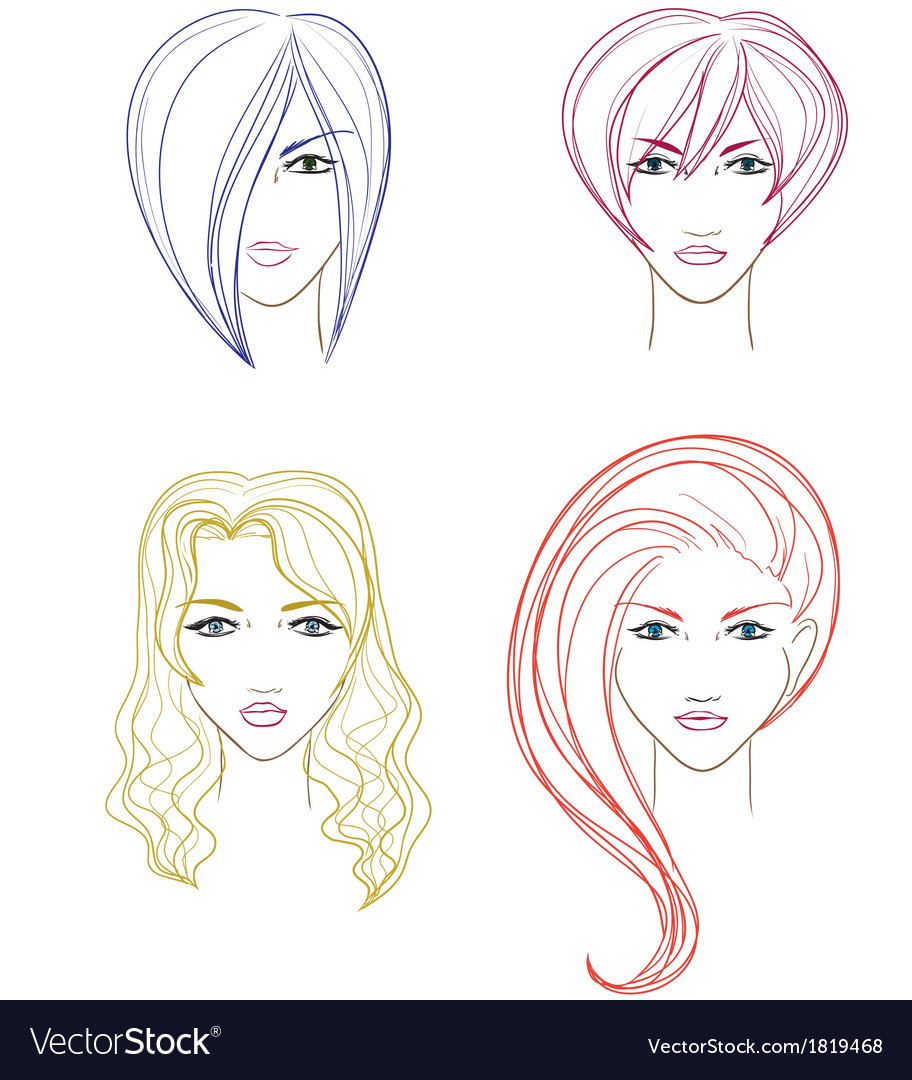 Women faces vector | Price: 1 Credit (USD $1)