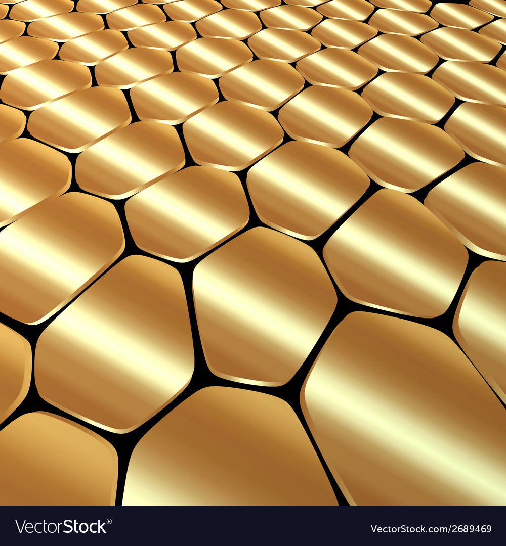 Abstract metal gold background with polygons vector | Price: 1 Credit (USD $1)