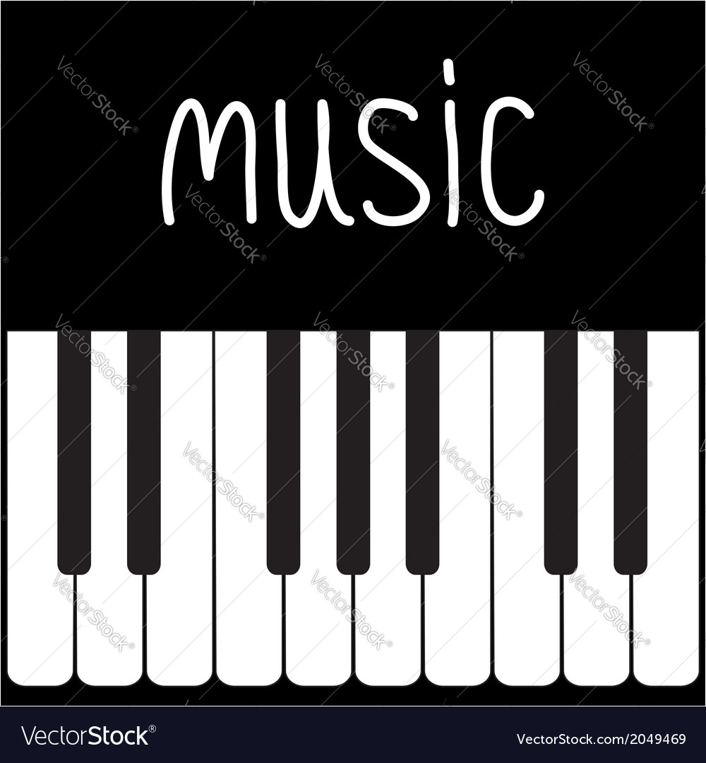 Big piano keys and white word music card vector | Price: 1 Credit (USD $1)