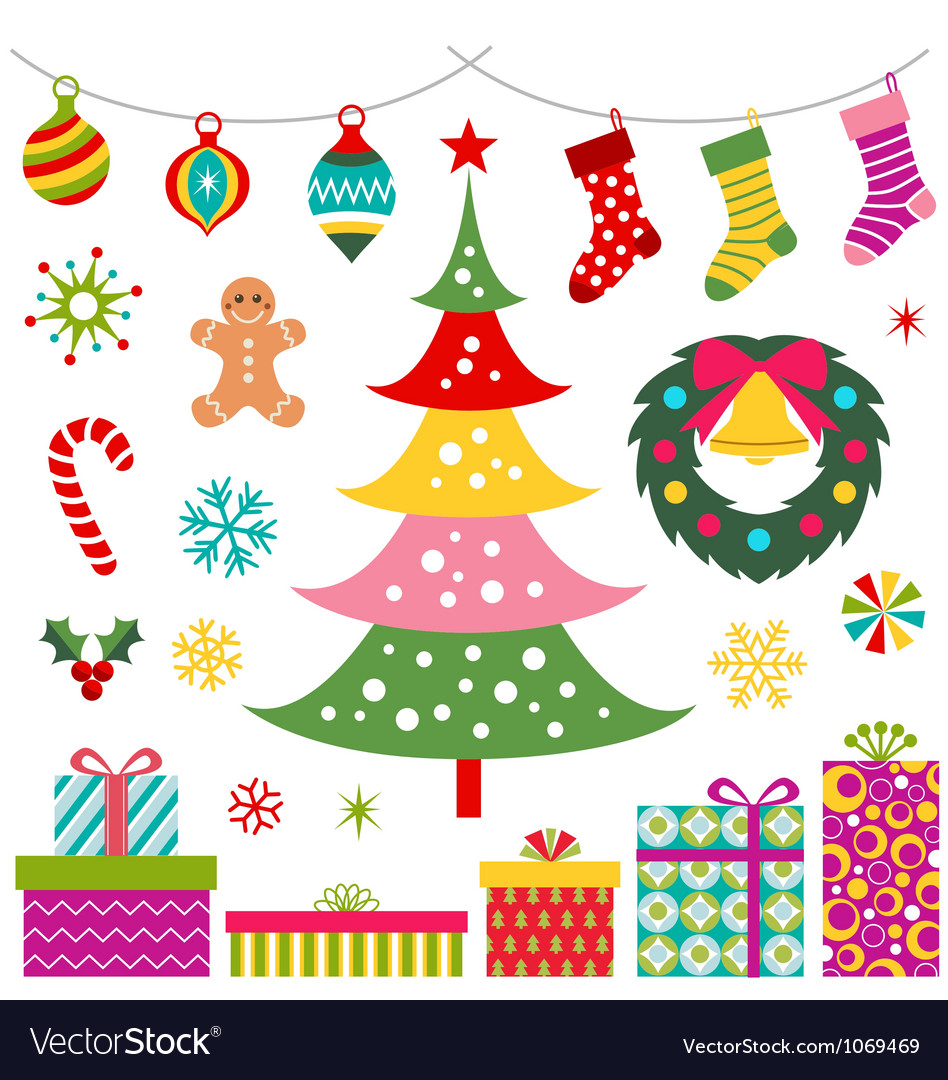 Christmas party decoration gift set vector