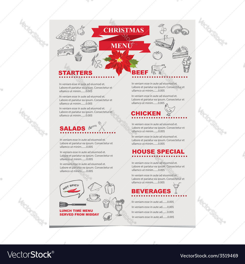 Christmas restaurant and party menu invitation vector | Price: 1 Credit (USD $1)