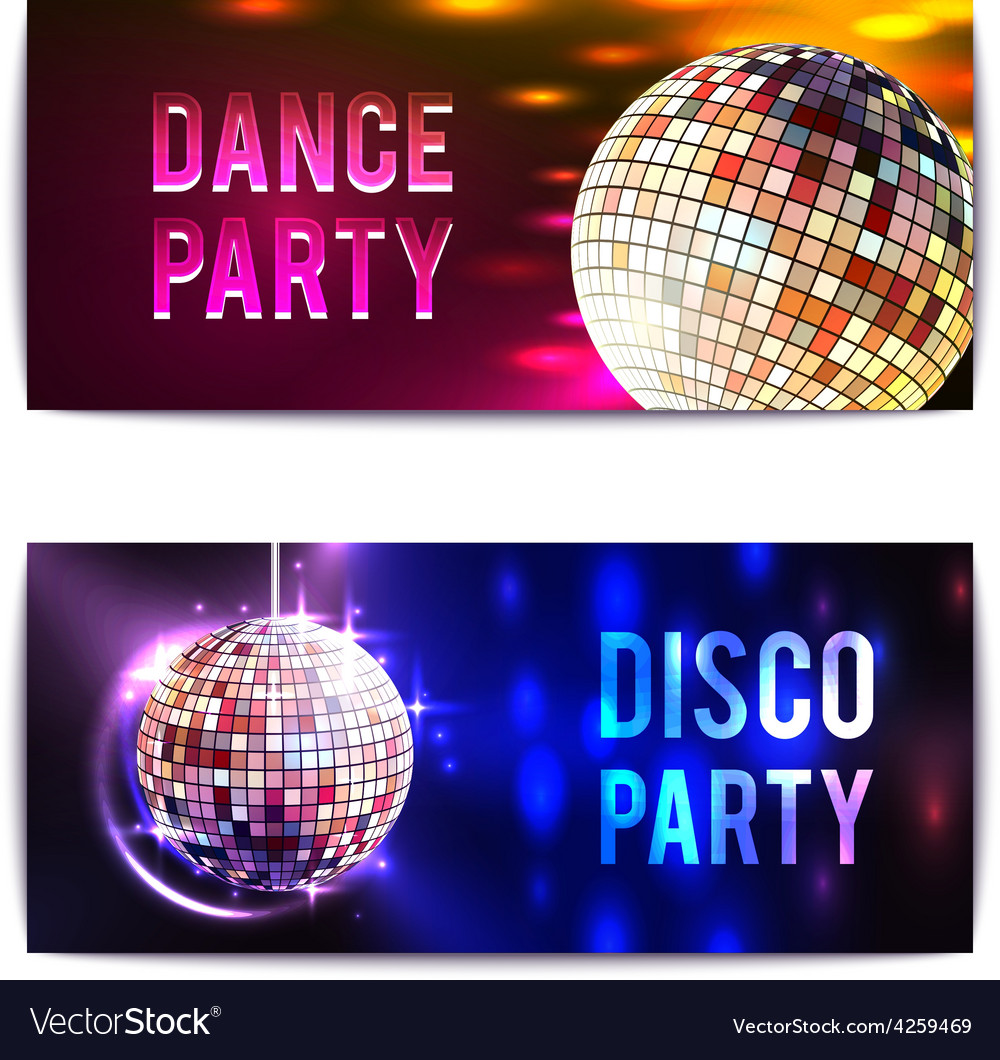 Disco party banners horizontal vector | Price: 1 Credit (USD $1)