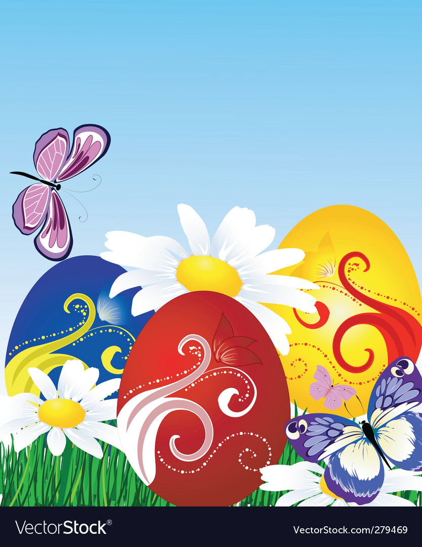 Easter eggs on the lawn vector | Price: 1 Credit (USD $1)