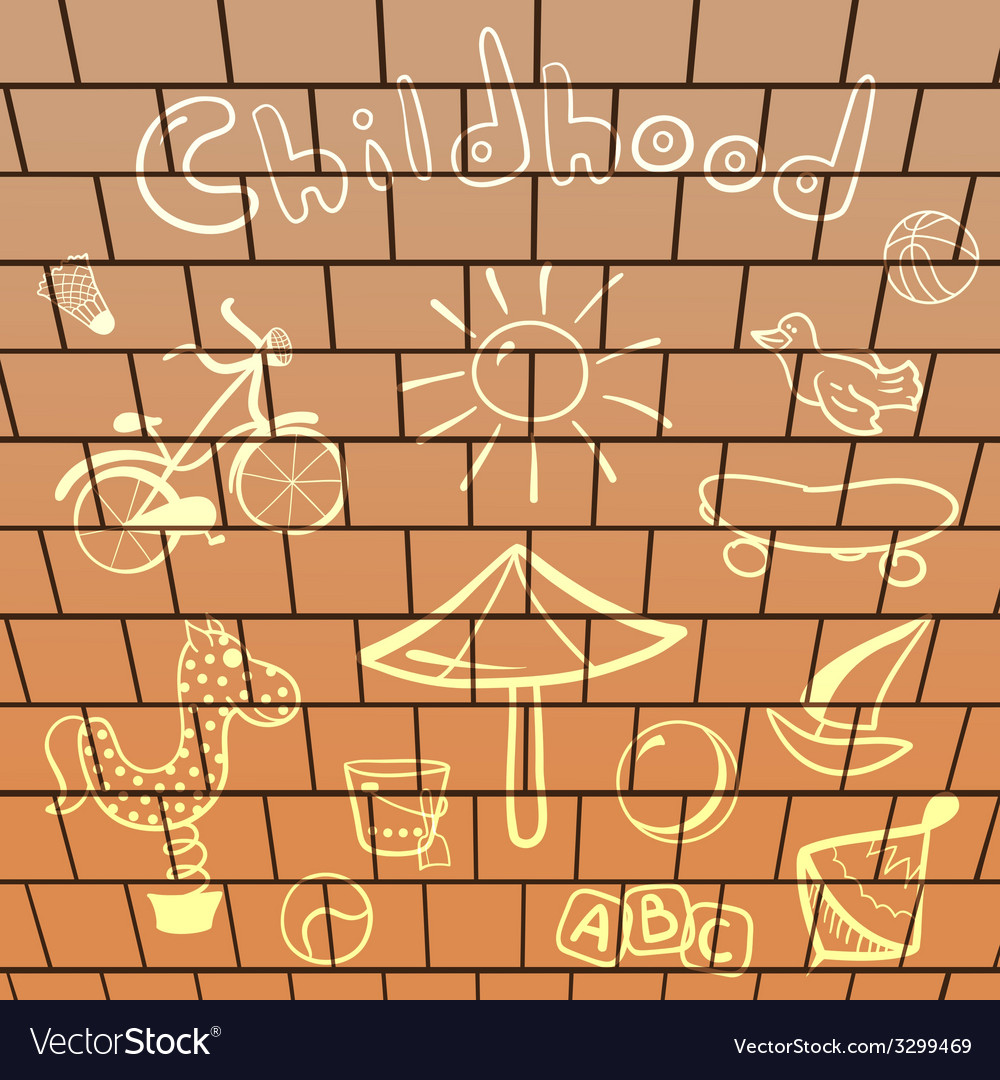 Elements playground hand-drawn on brick wall vector | Price: 1 Credit (USD $1)
