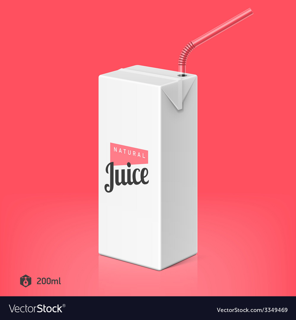 Juice package with drinking straw template vector | Price: 1 Credit (USD $1)