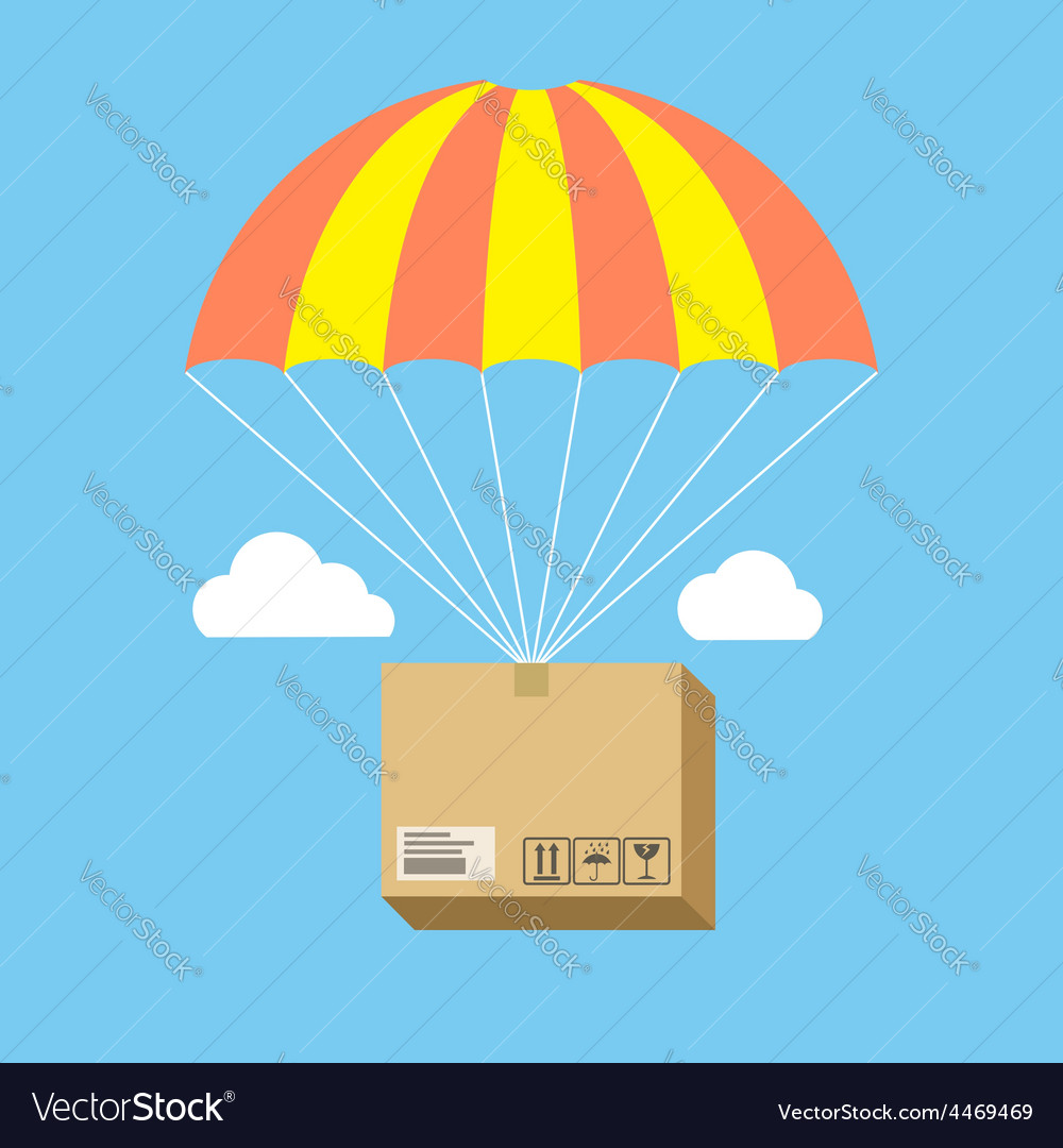 Package flying on parachute delivery service vector