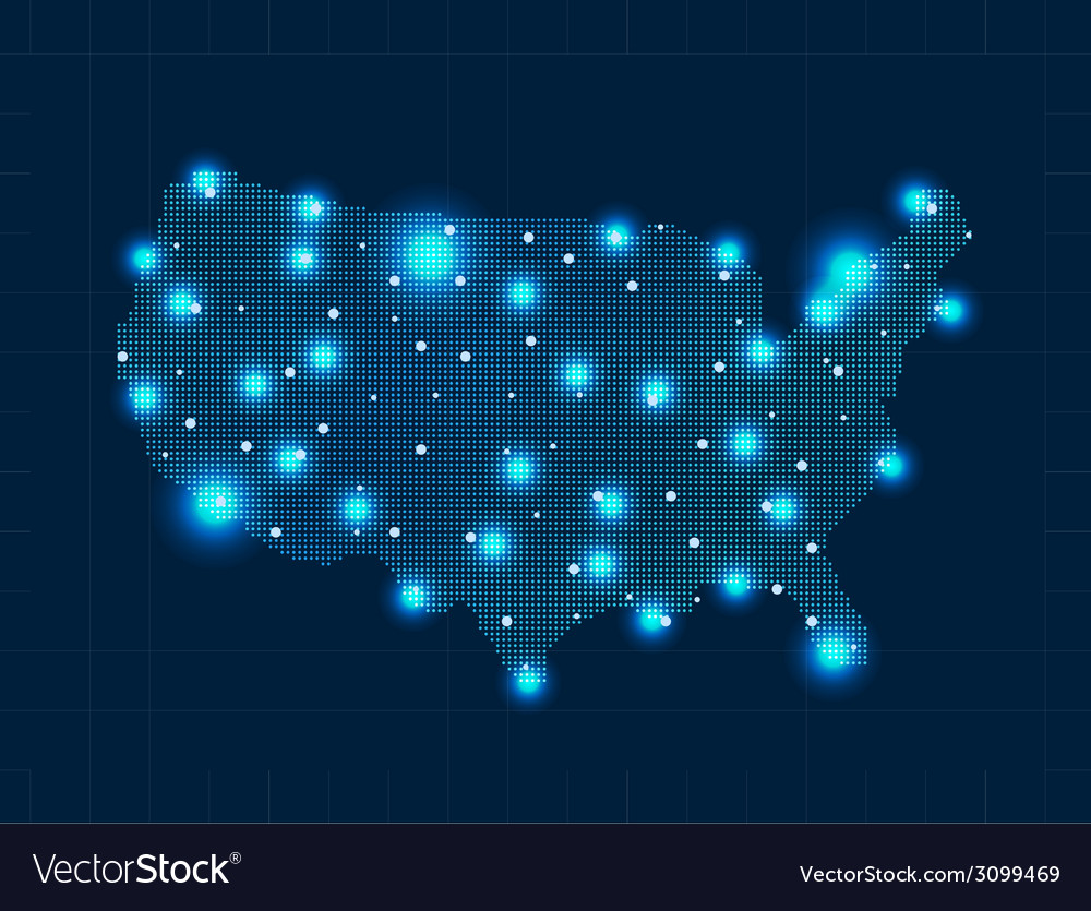 Pixel usa map with spot lights vector | Price: 1 Credit (USD $1)