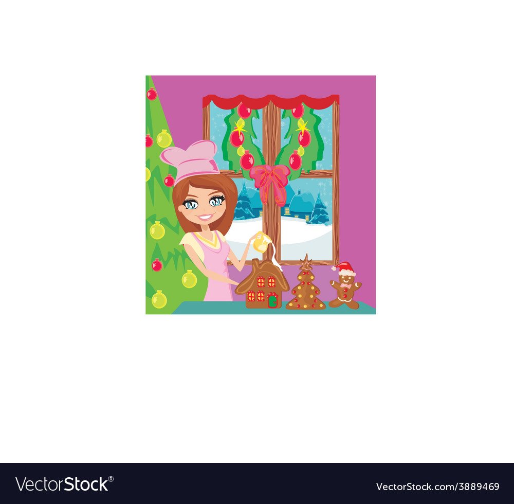 Portrait of happy young housewife decorating vector | Price: 1 Credit (USD $1)