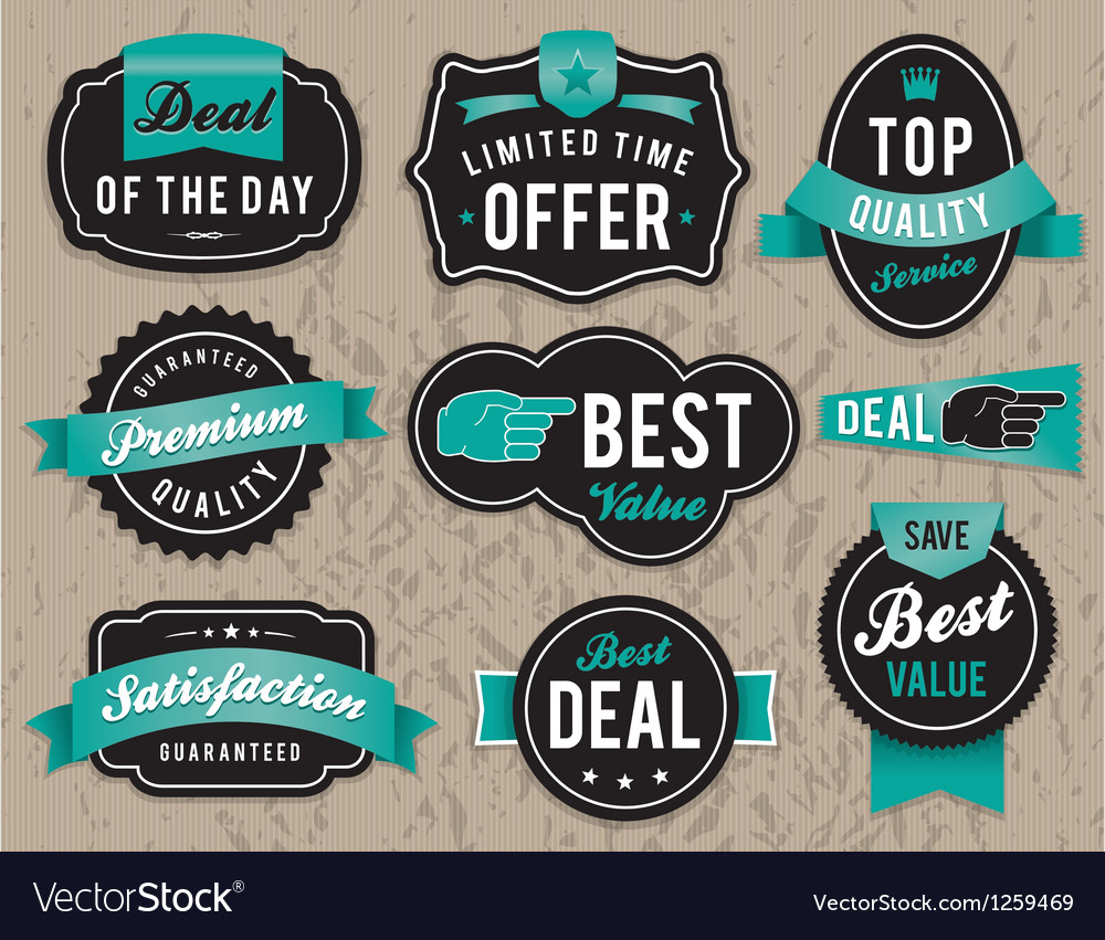 Retro retail badges vector | Price: 1 Credit (USD $1)