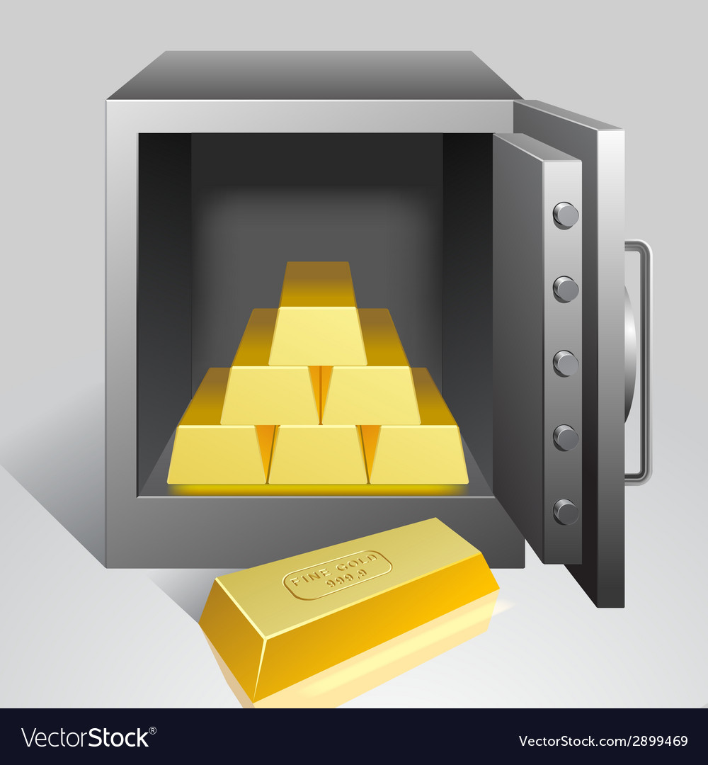 Safe with gold vector | Price: 1 Credit (USD $1)
