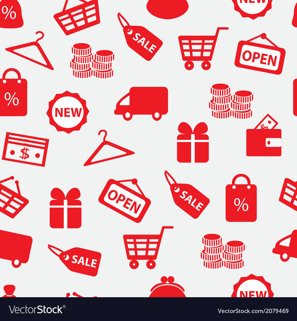 Seamless background with shopping icons vector | Price: 1 Credit (USD $1)