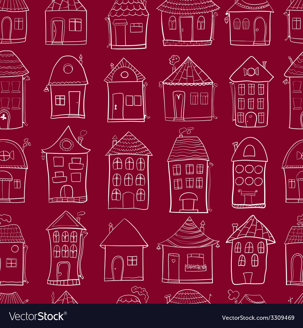 Seamless pattern with outine houses vector | Price: 1 Credit (USD $1)