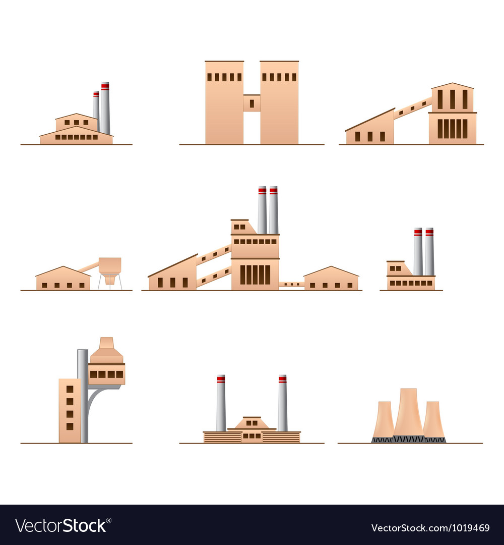 Set of icons of industrial buildings vector | Price: 1 Credit (USD $1)
