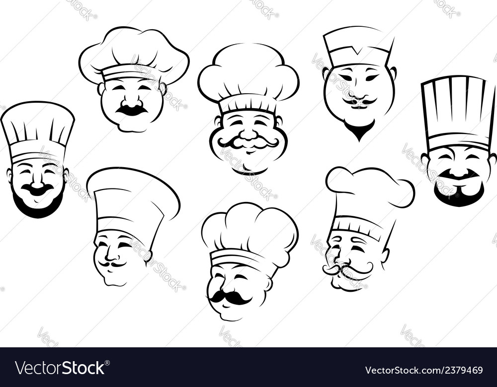 Set of smiling chefs heads vector | Price: 1 Credit (USD $1)