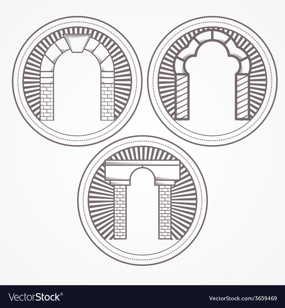Three types brick arch icon vector | Price: 1 Credit (USD $1)