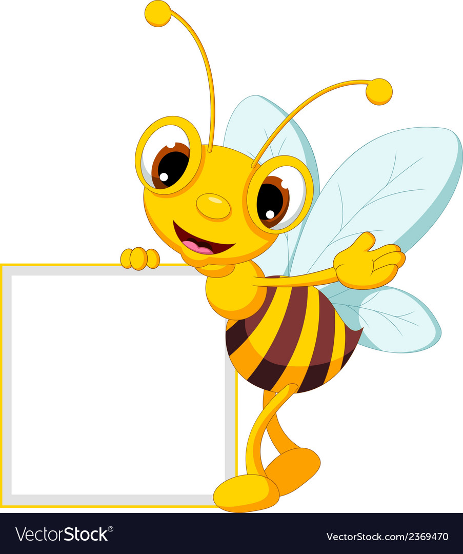 Funny bee cartoon waving and holding blank sign vector | Price: 1 Credit (USD $1)