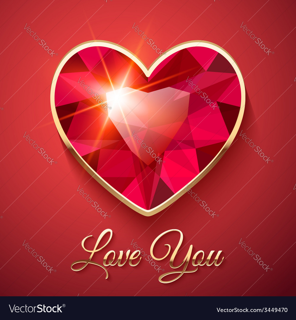 Valentines day card with red gemstone vector | Price: 3 Credit (USD $3)