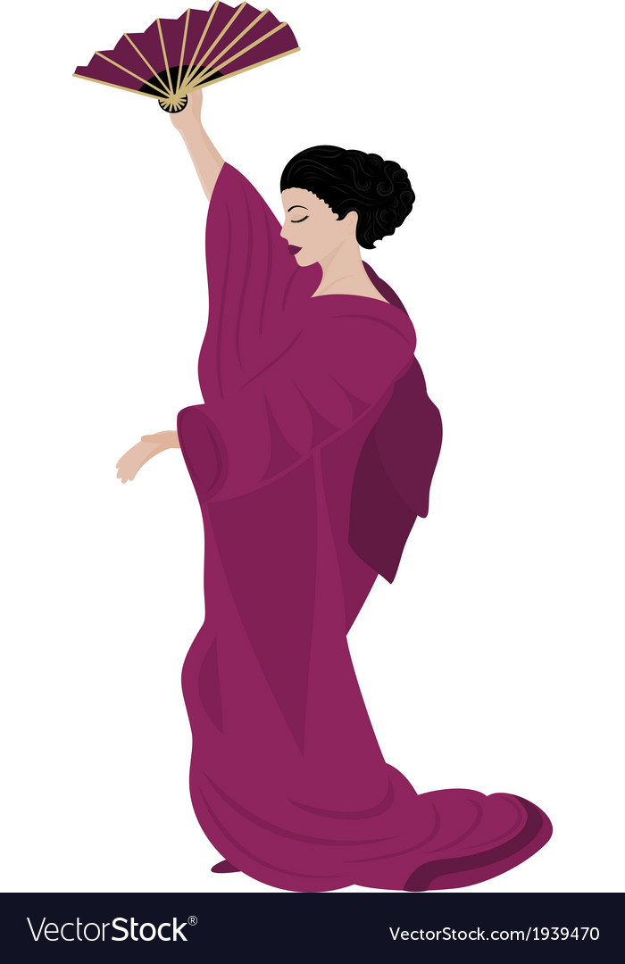 Woman in kimono vector | Price: 1 Credit (USD $1)