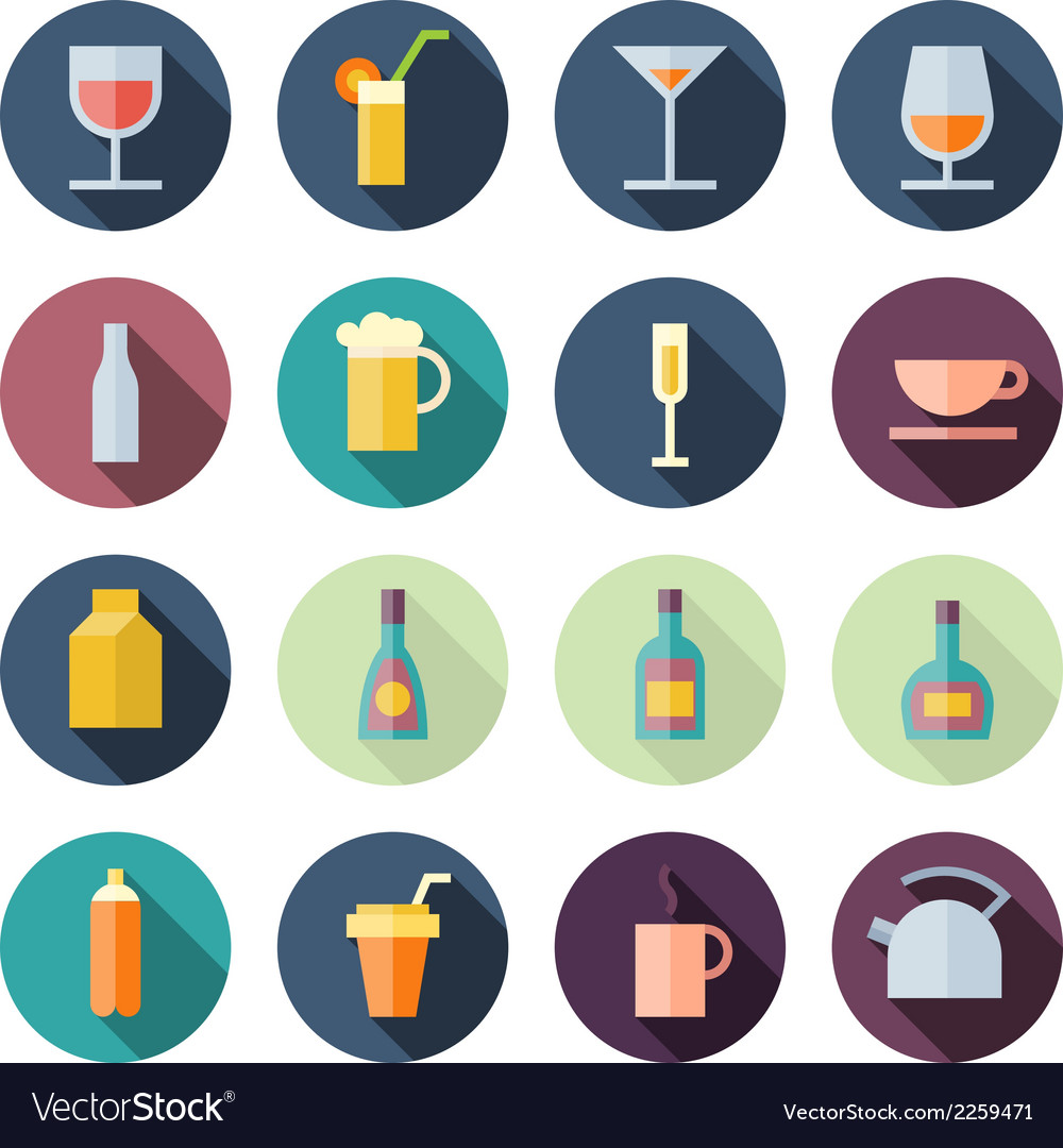 Flat design icons for drinks vector | Price: 1 Credit (USD $1)