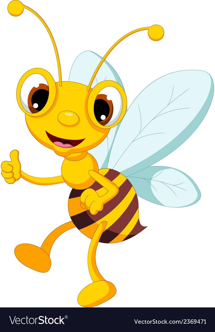 Funny bee cartoon thumb up vector | Price: 1 Credit (USD $1)