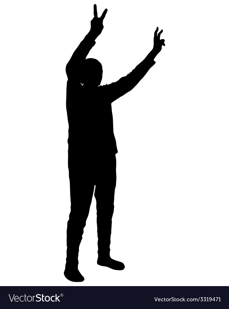 Hand sign victory vector | Price: 1 Credit (USD $1)