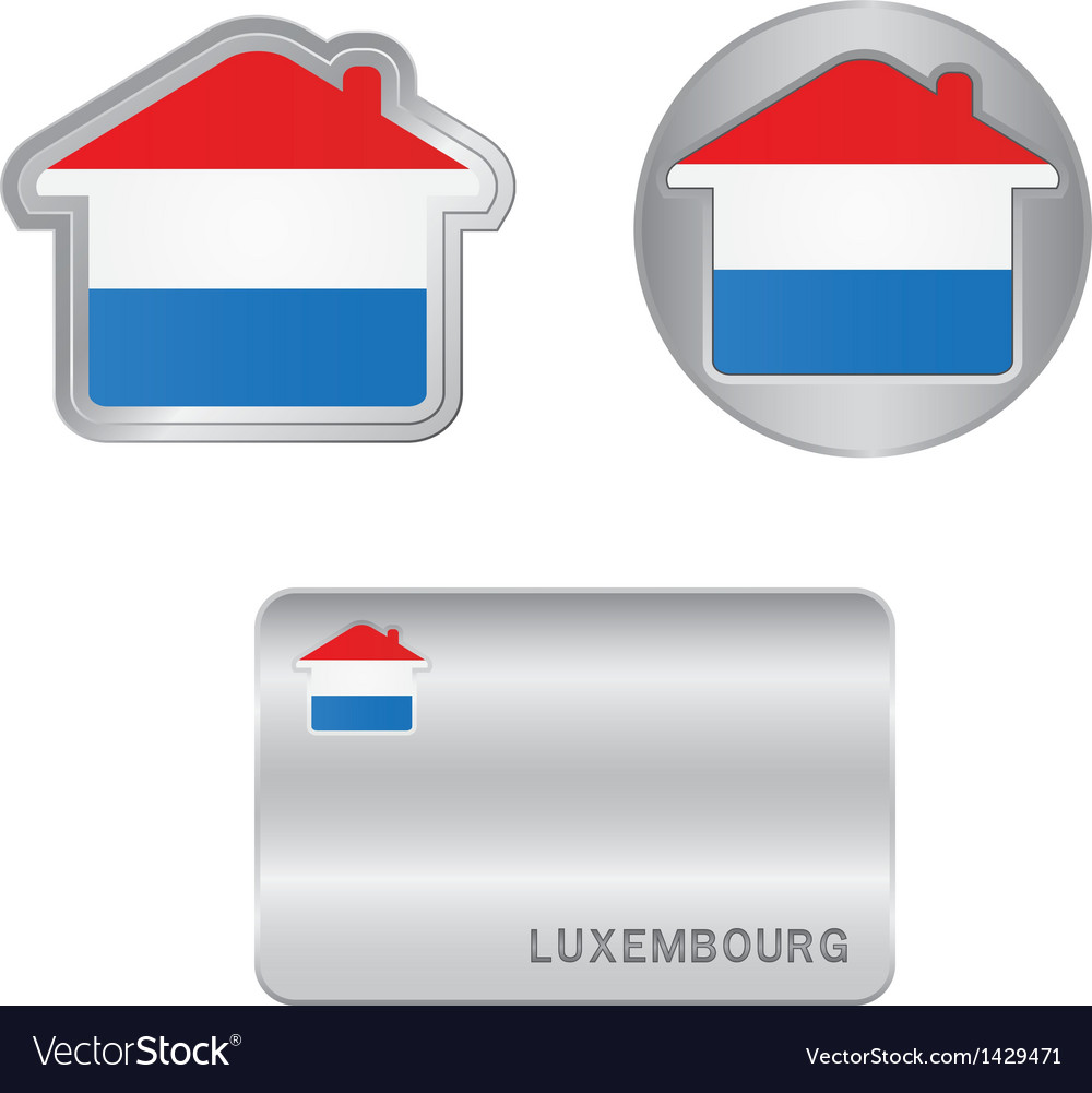Home icon on the luxembourg flag vector | Price: 1 Credit (USD $1)