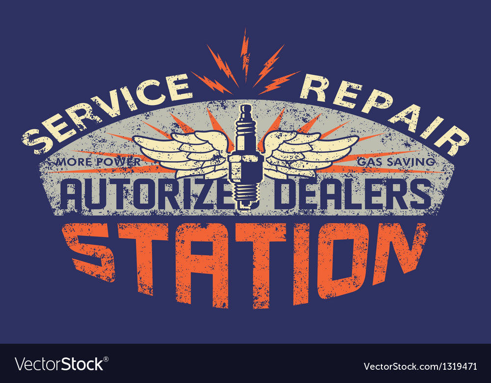 Service station vintage sign board vector | Price: 1 Credit (USD $1)