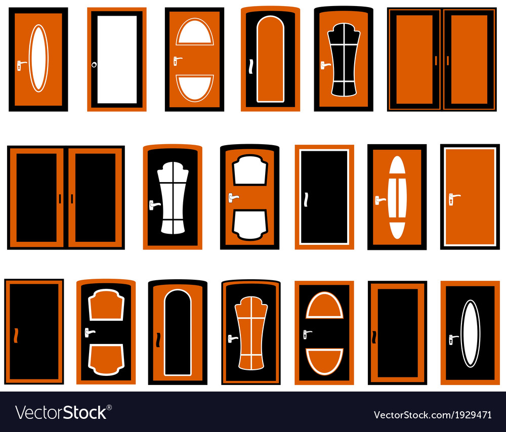 Set isolated doors silhouette vector | Price: 1 Credit (USD $1)