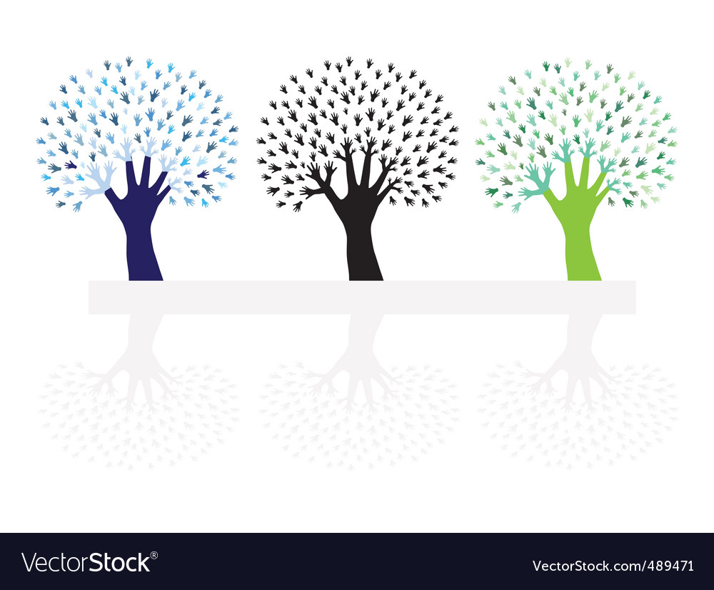 Set of abstract hand trees vector   Price: 1 Credit (USD $1)
