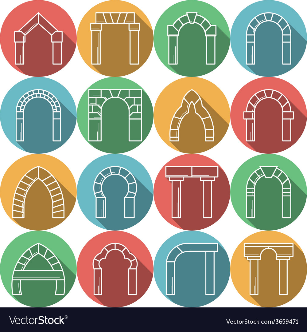 Set of colored flat icons for archway vector | Price: 1 Credit (USD $1)