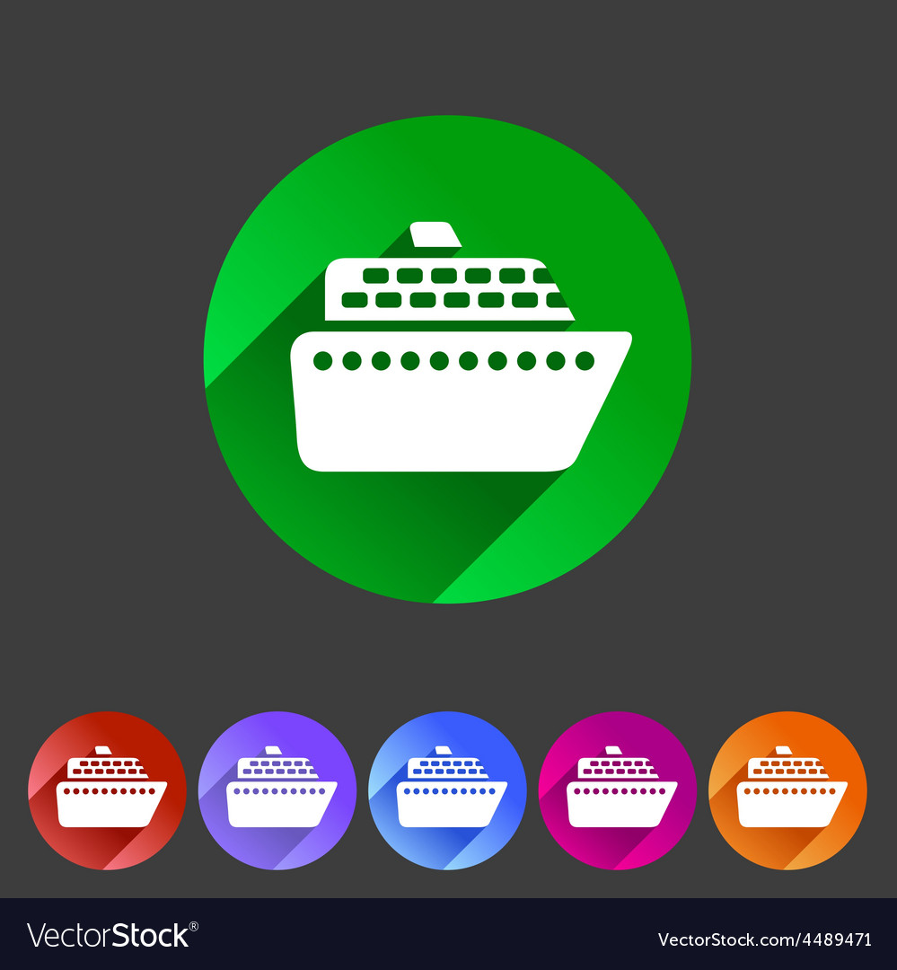 Ship ferry boat flat icon badge set vector | Price: 1 Credit (USD $1)