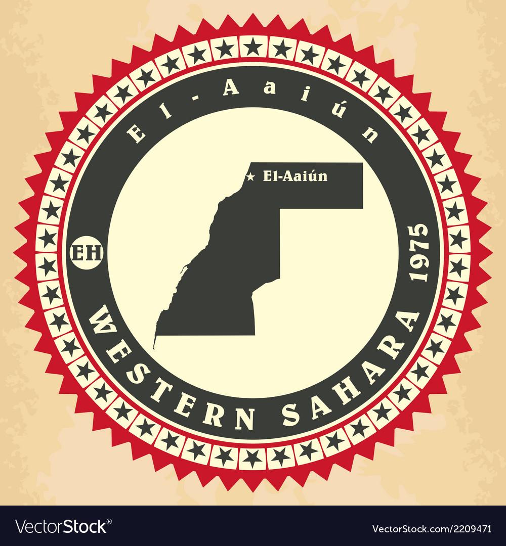 Vintage label-sticker cards of western sahara vector | Price: 1 Credit (USD $1)