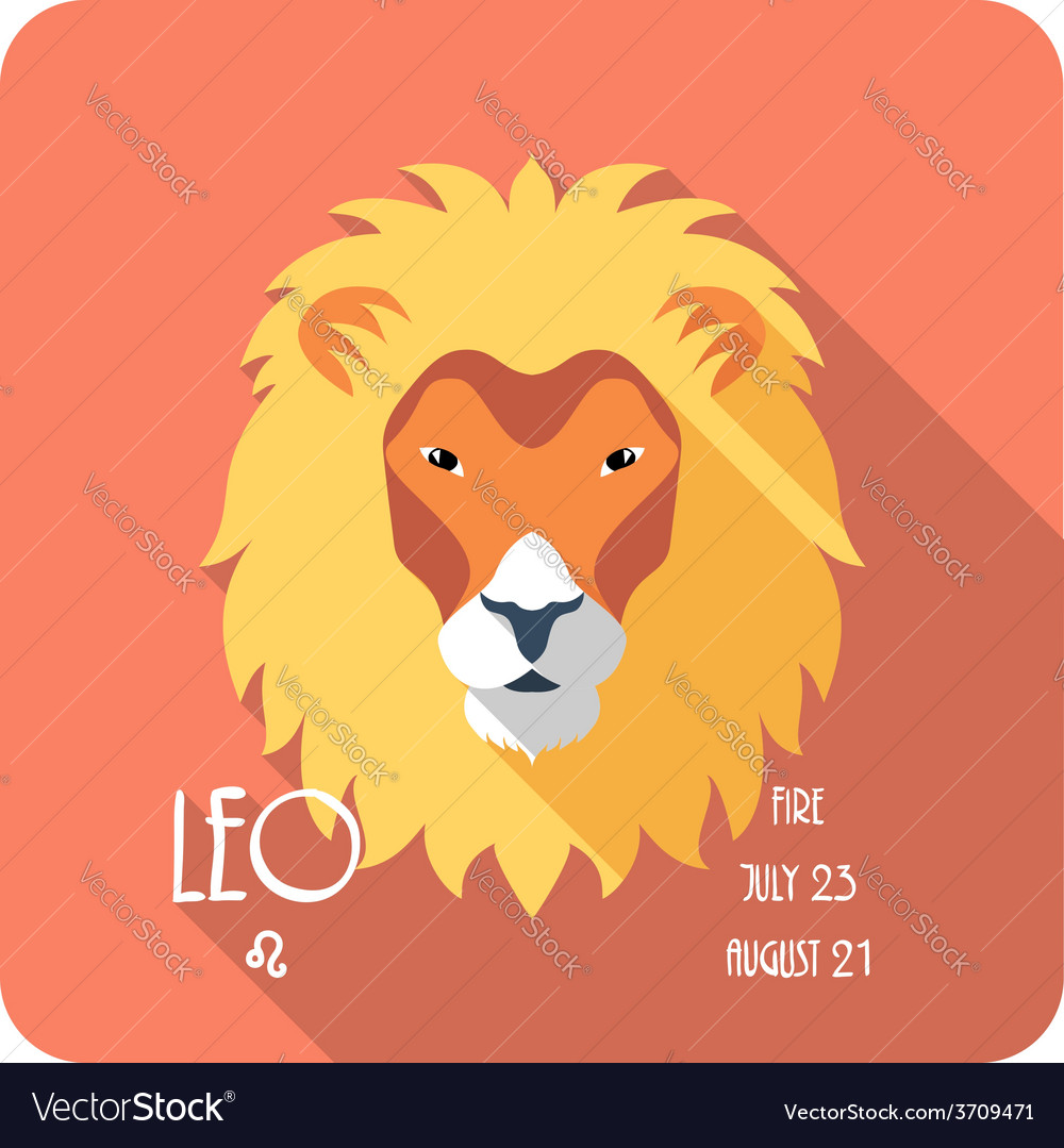 Zodiac sign leo icon flat design vector | Price: 1 Credit (USD $1)
