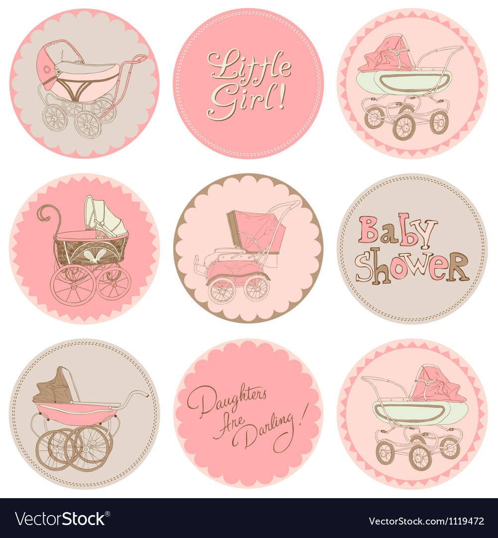 Baby girl shower party set vector | Price: 1 Credit (USD $1)