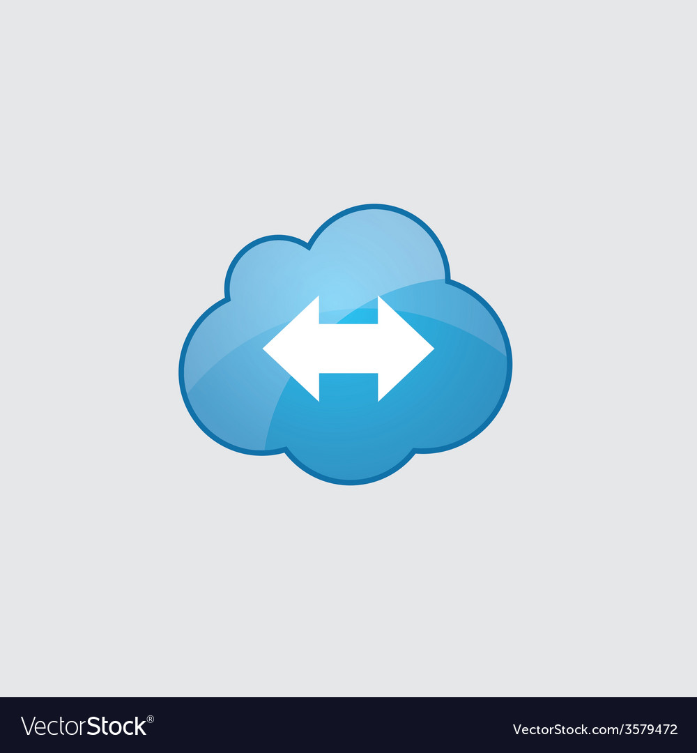 Blue cloud 2 side arrow icon vector | Price: 1 Credit (USD $1)