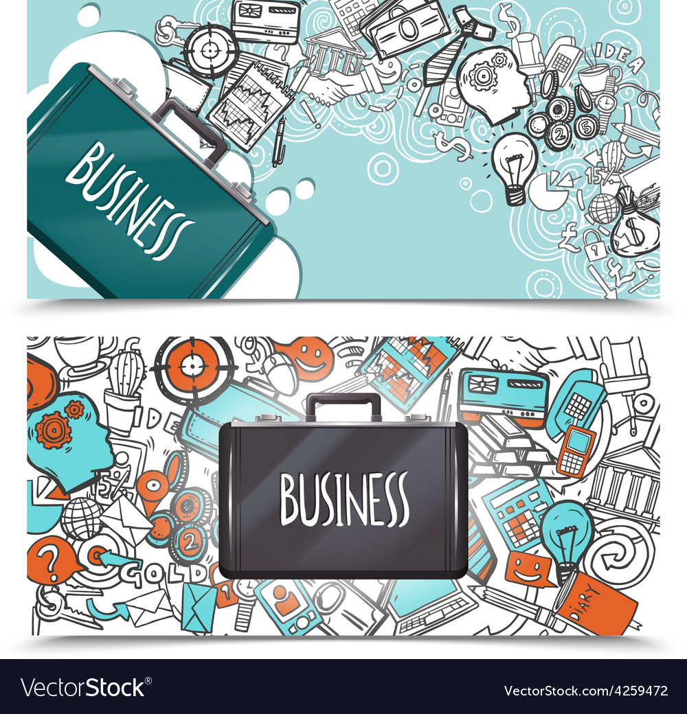 Business doodle banner set vector | Price: 1 Credit (USD $1)