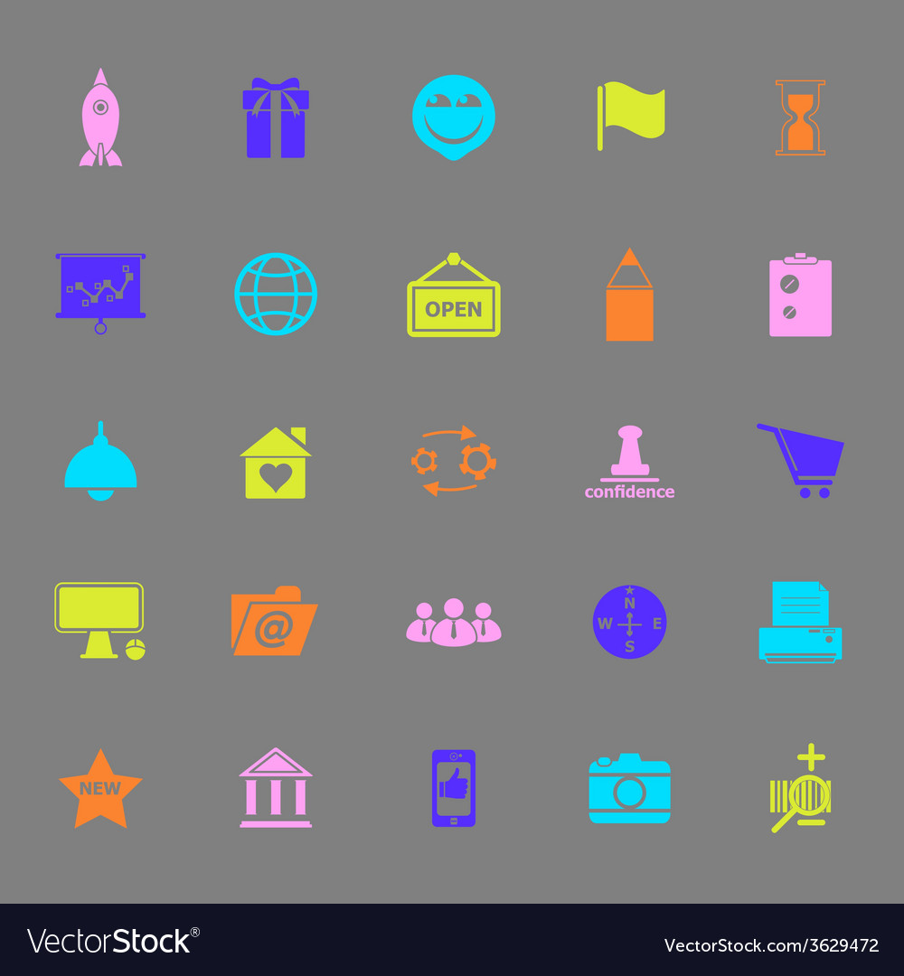 Business start up color icons on gray background vector | Price: 1 Credit (USD $1)