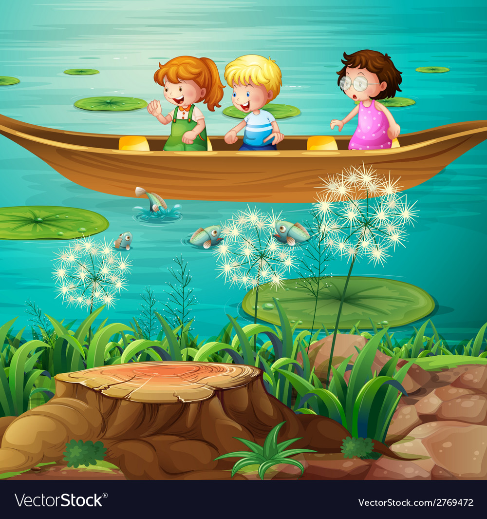 Children rowing boat in pond vector | Price: 3 Credit (USD $3)