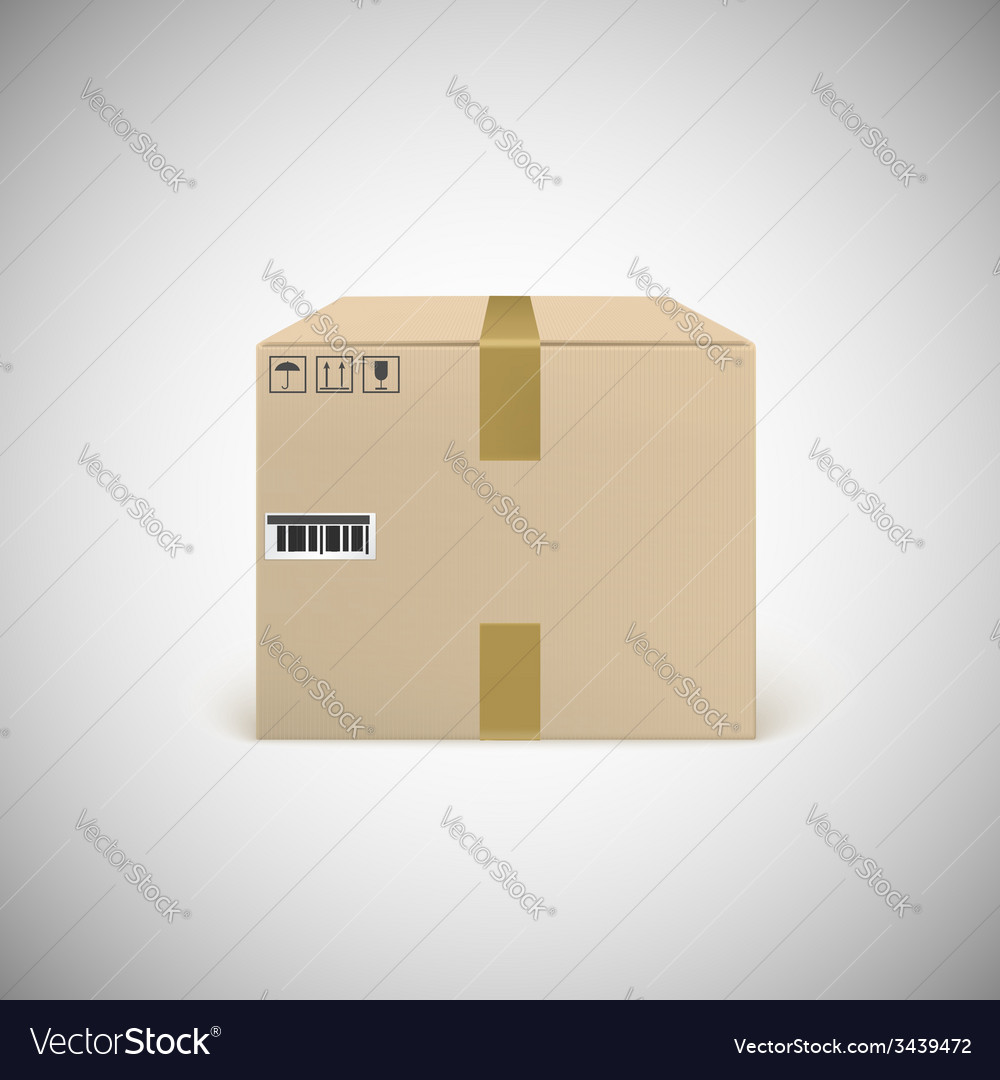Closed cardboard box taped up vector | Price: 1 Credit (USD $1)