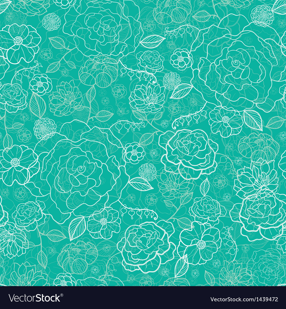 Emerald green floral lineart seamless pattern vector | Price: 1 Credit (USD $1)