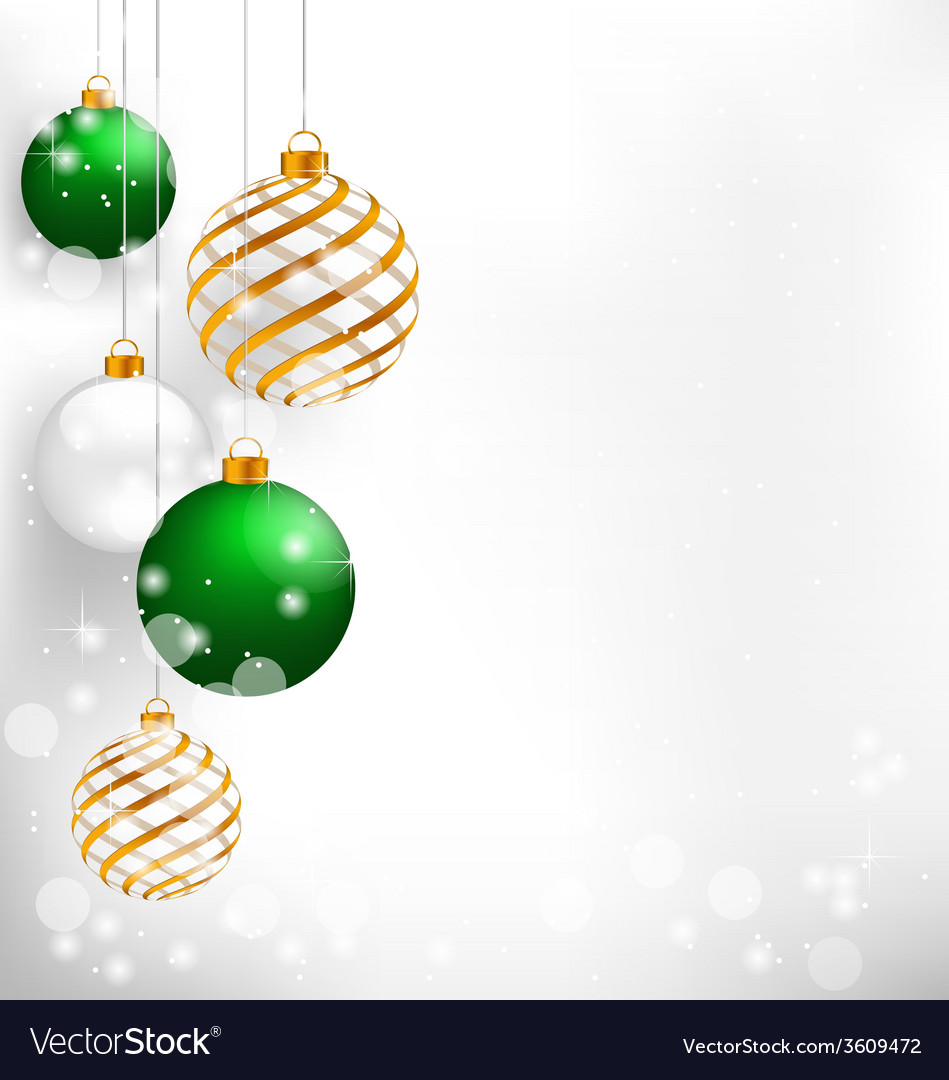 Green spiral christmas balls hang on white vector | Price: 1 Credit (USD $1)