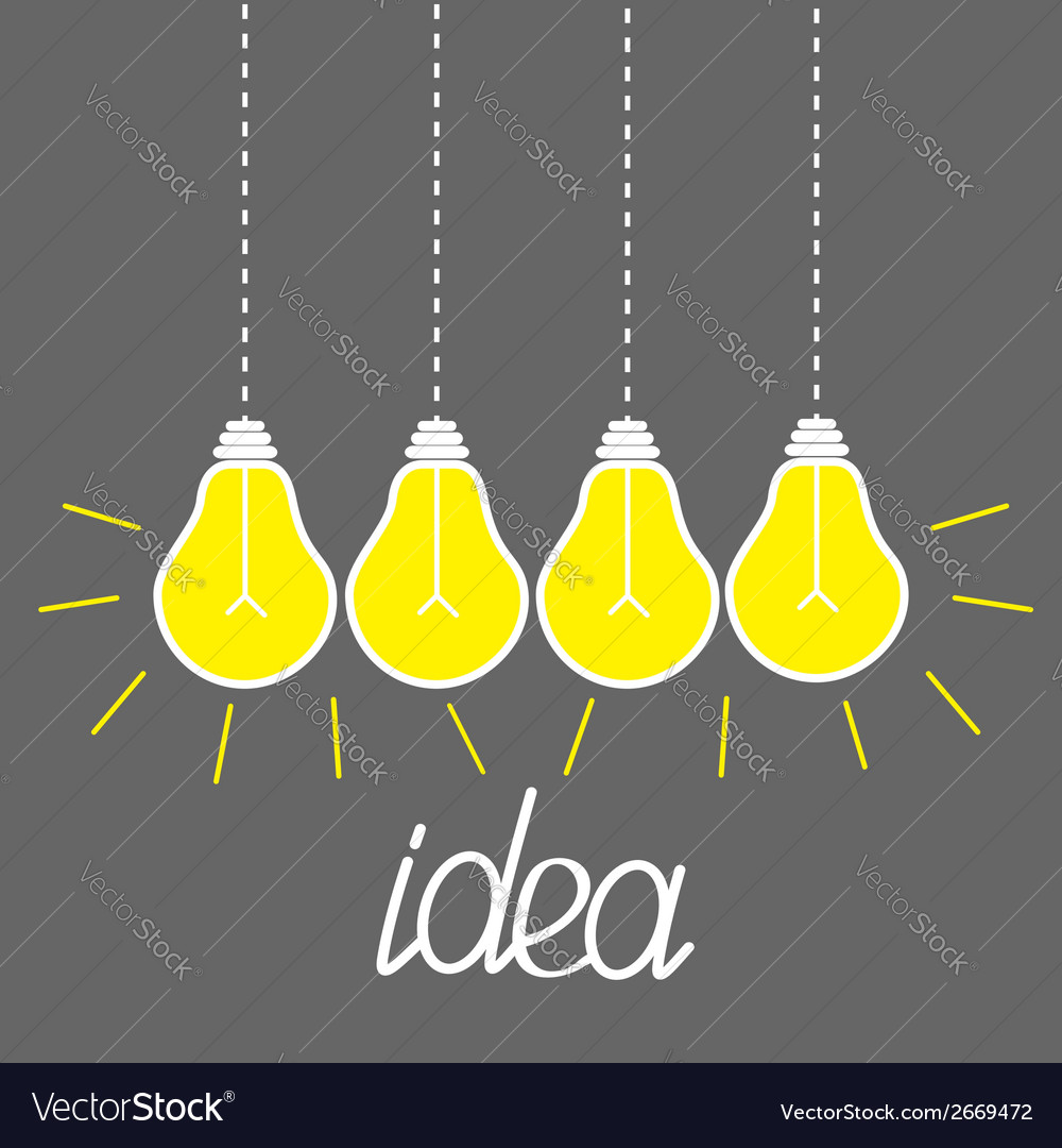 Hanging yellow light bulbs idea concept grey vector | Price: 1 Credit (USD $1)