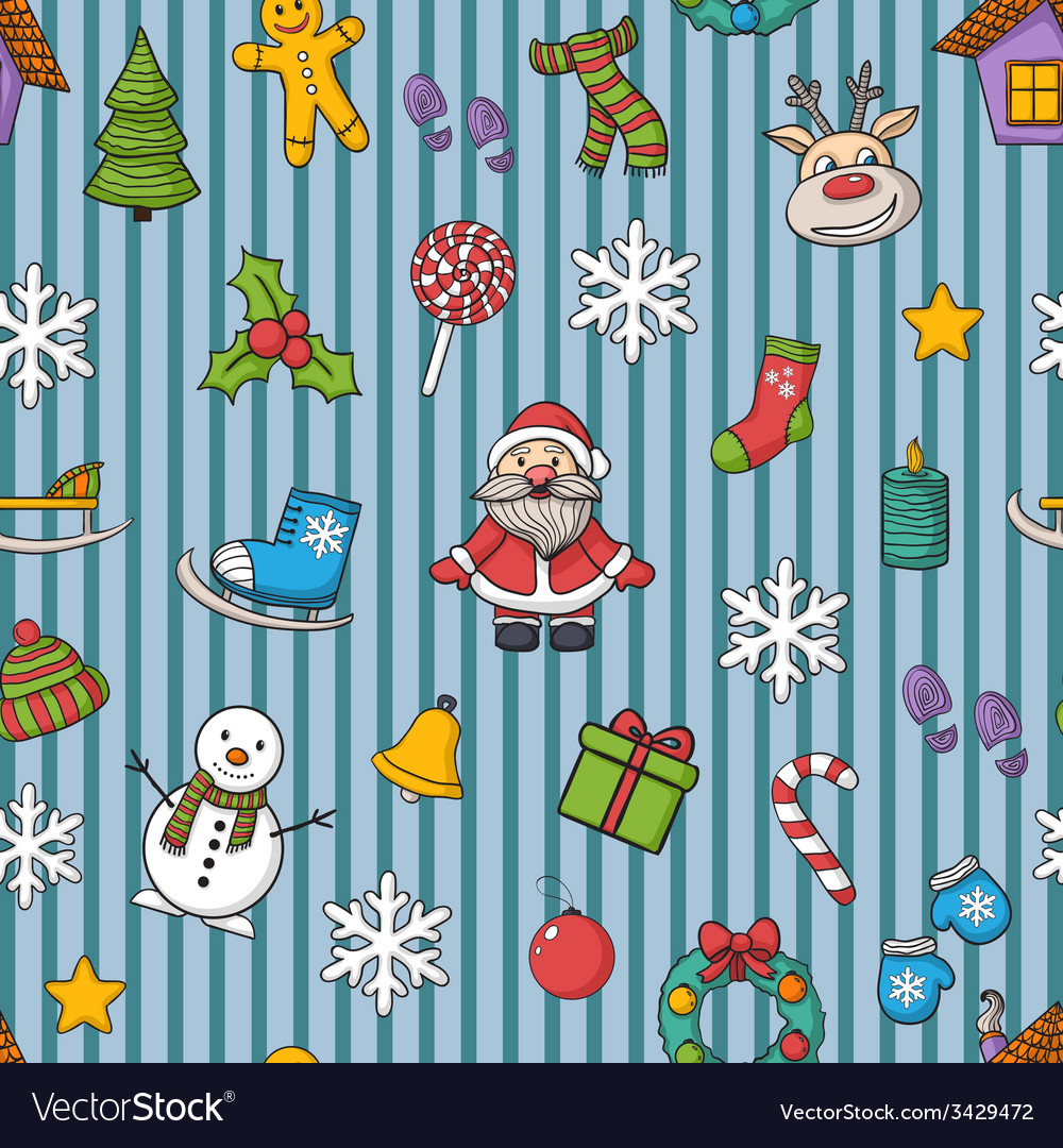 Happy new year and merry christmas pattern vector   Price: 1 Credit (USD $1)