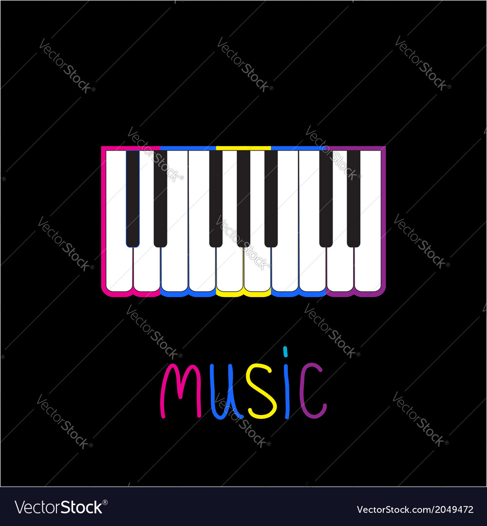 Piano keys with colorful stroke and word music vector   Price: 1 Credit (USD $1)