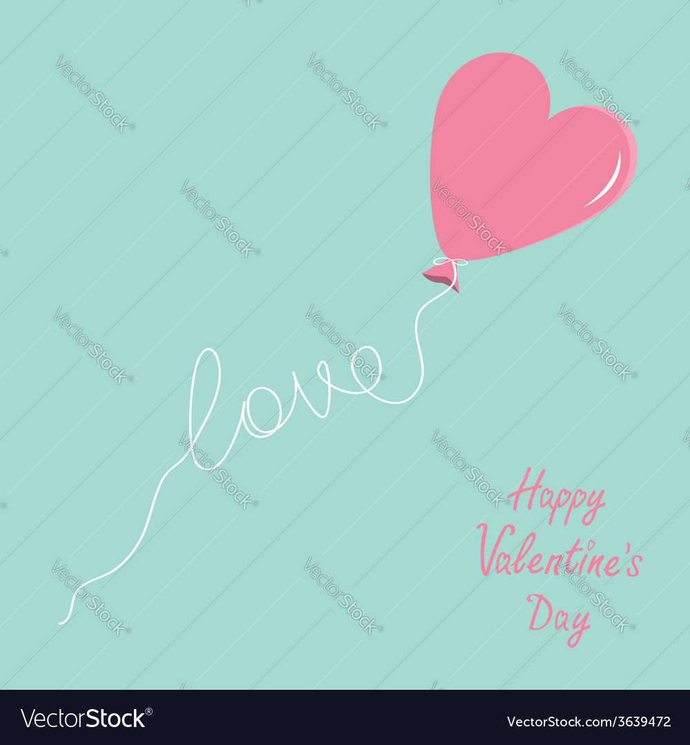 Pink balloon in shape of heart with love thread vector | Price: 1 Credit (USD $1)