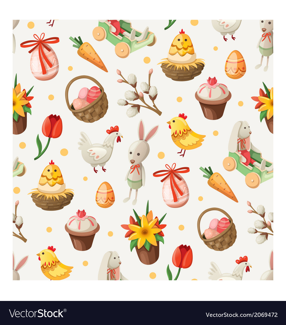 Seamless easter pattern vector | Price: 3 Credit (USD $3)