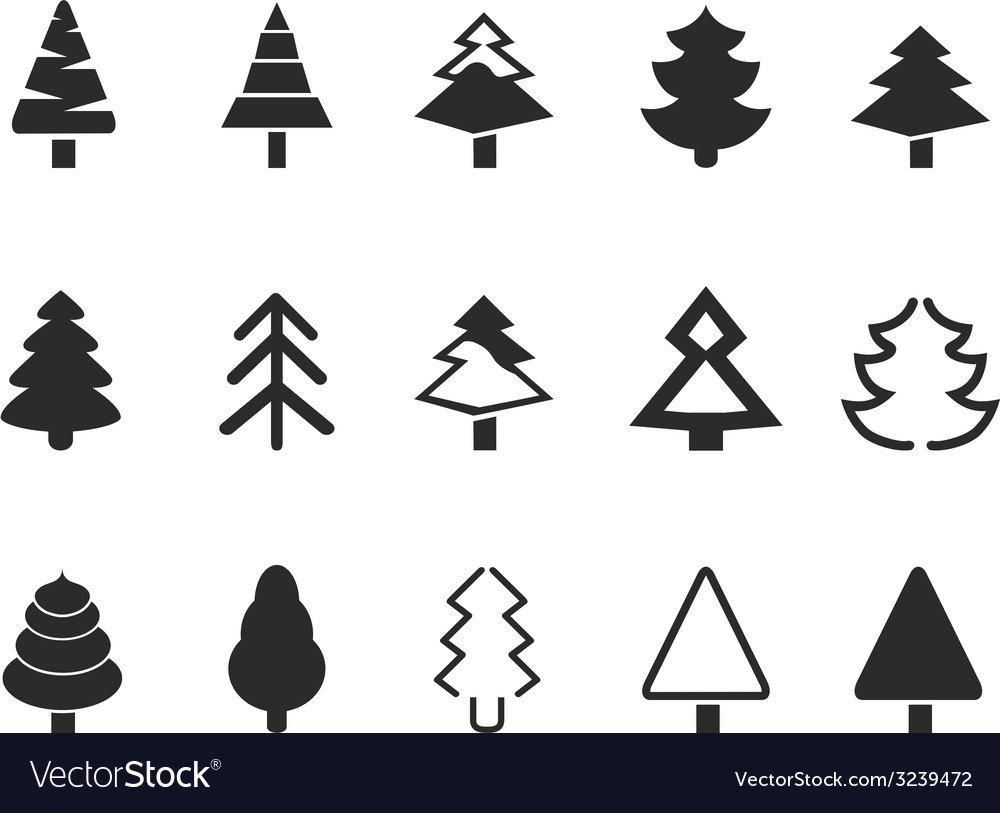 Simple pine tree icons set vector