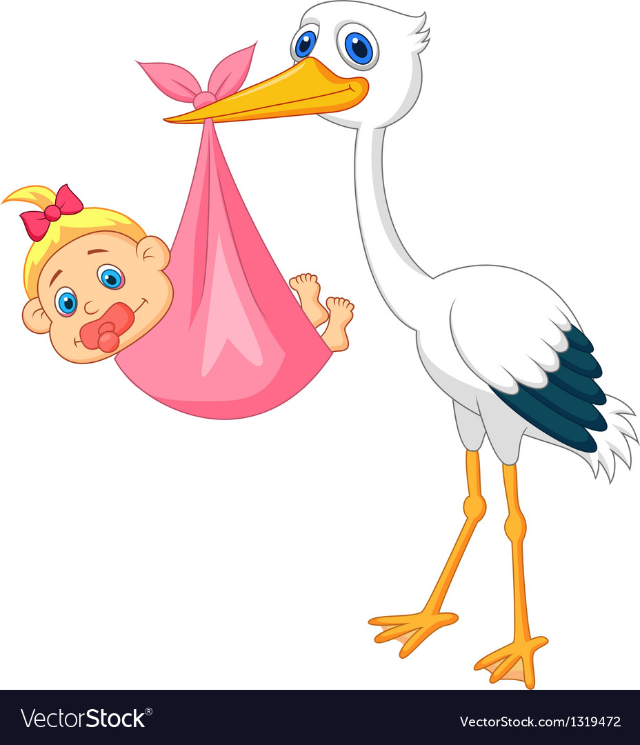 Stork with baby girl vector | Price: 1 Credit (USD $1)
