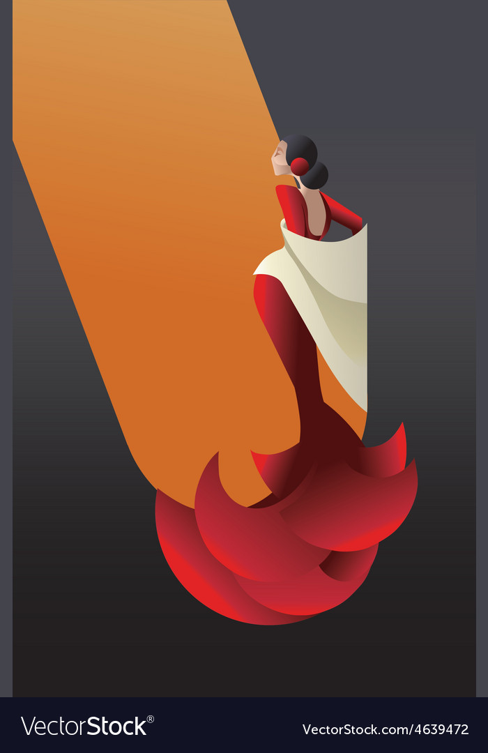 Styled spain flamenco dancer vector | Price: 1 Credit (USD $1)